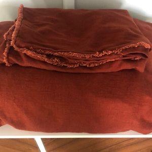 Linen Rust Duvet cover and shams (Queen/Full)